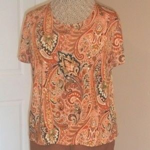 Gypsy Print and Sequin Lightweight Jersey Top